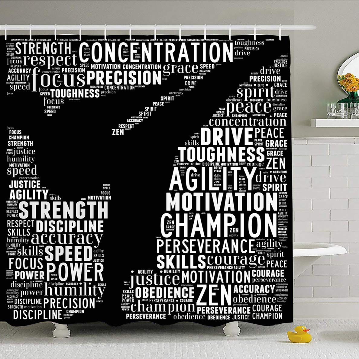 Ahawoso Shower Curtain for Bathroom 72 x 72 Inches Collage Training Essence Martial Arts Text Graphics Karate Sports Recreation Kickboxing Leadership Waterproof Polyester Fabric Set with Hooks by Ahawoso