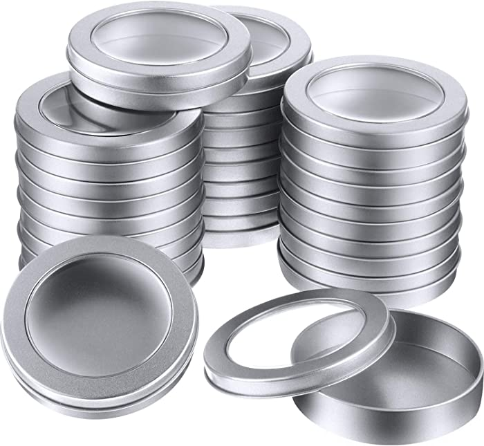 4 oz Metal Tin Cans Round Tin Containers Empty Tin Cans with Clear Top for Kitchen Office Candles Candies and Gifts Holding (24 Pieces)