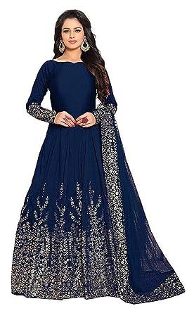 09bd4fe3f66 BRIDAL4Fashion Women's Heavy Embroidered Taffeta Silk Semi Stitched Blue  color Anarkali Gown (Free Size)