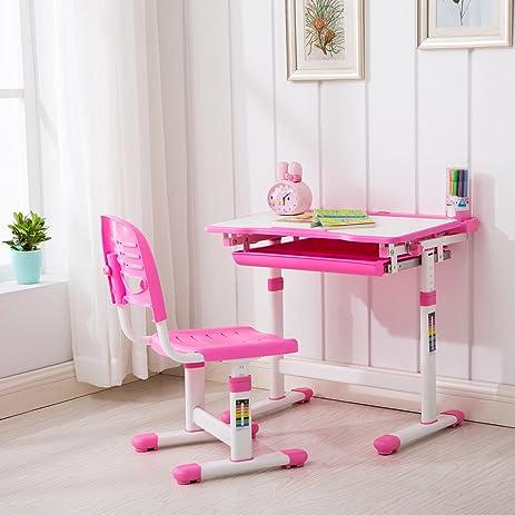 GTM Pink Adjustable Children\u0027s Desk and Chair Set Child Kids Study Table Set & Amazon.com: GTM Pink Adjustable Children\u0027s Desk and Chair Set Child ...