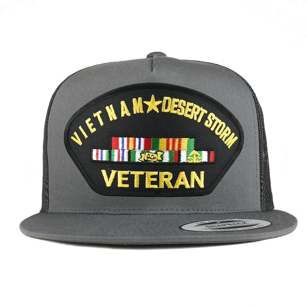 Armycrew Flexfit Oversize XXL Vietnam Desert Storm Veteran Patch 5 Panel Flatbill Snapback Mesh Cap