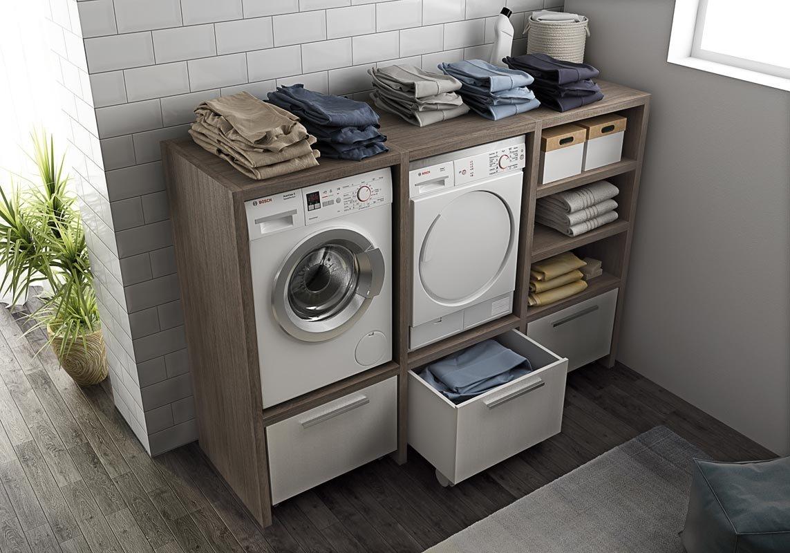 Dafnedesign.com - Mobile lavanderia porta lavatrice e porta asciugatrice e carrelli cesti bucato -Misura: H. 143 L.201 P.62 cm Finitura: Rovere Tranche' scuro e cesti Bianchi - 100% made in Italy