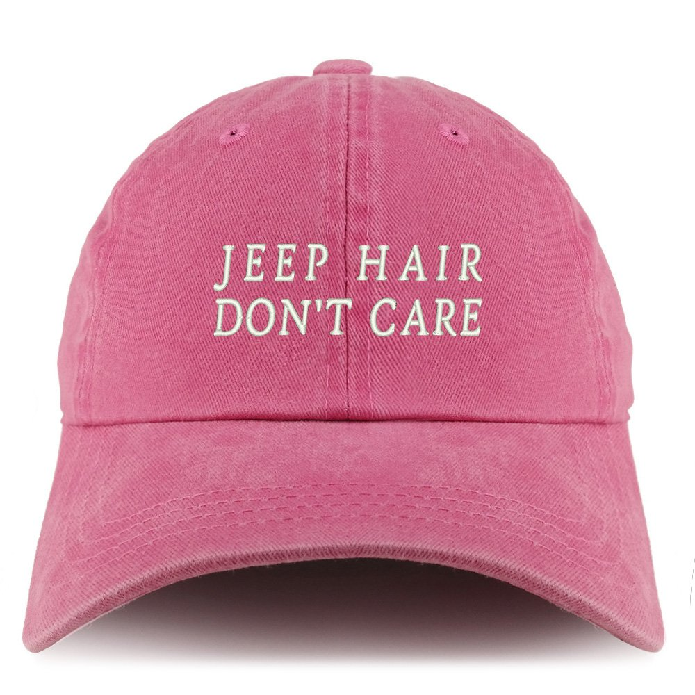 Trendy Apparel Shop Jeep Hair Don't Care Embroidered Pigment Dyed Unstructured Cap - Pink by Trendy Apparel Shop (Image #1)
