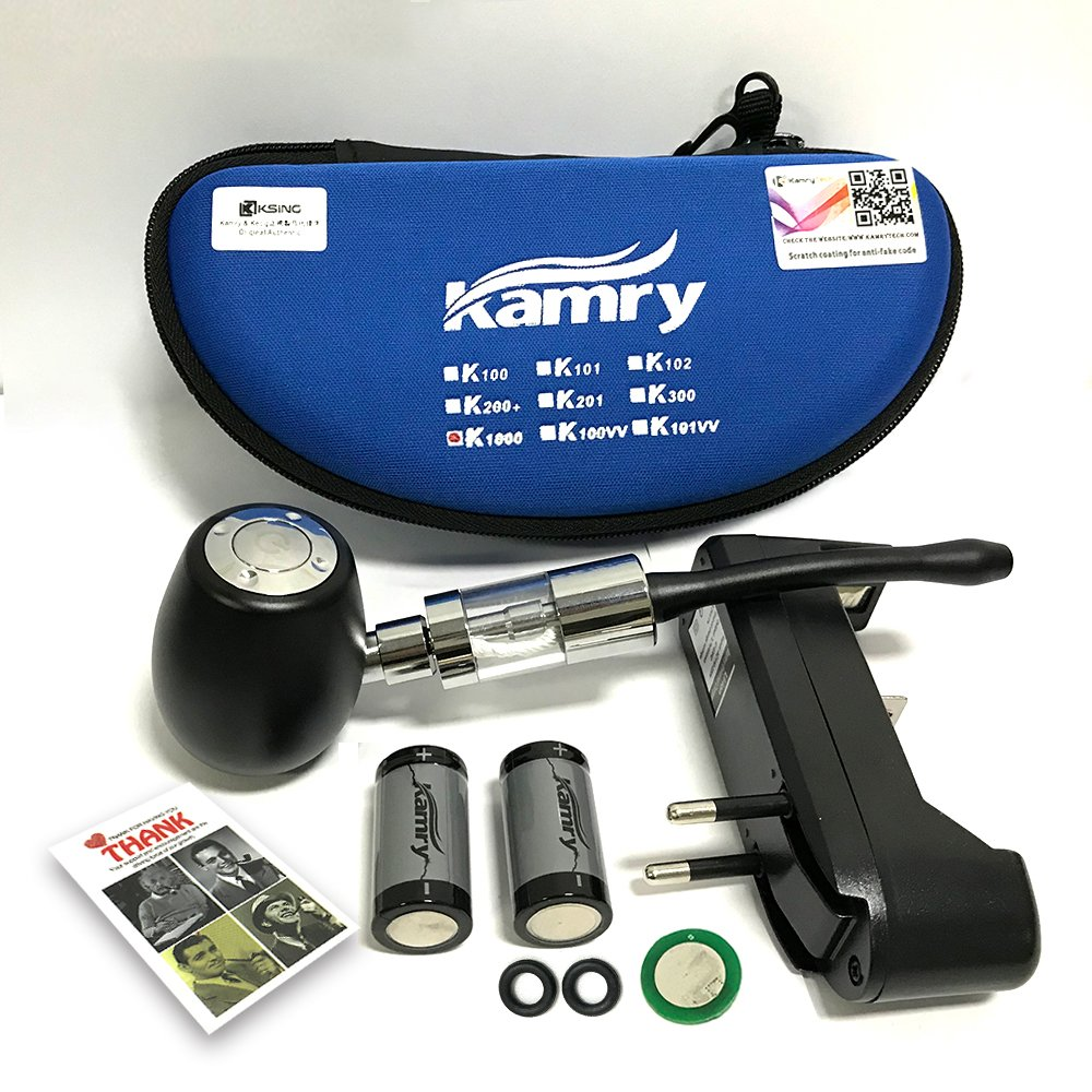 Argento 2PCS 900mAh Batterie Grande Tubo di Sigaretta Elettronica A Vapore Kamry K1000 E-Pipe Style Kit Completo Classico Con Custodia 510 // EGO Thread 2ML Atomizzatore Nicotina Libera