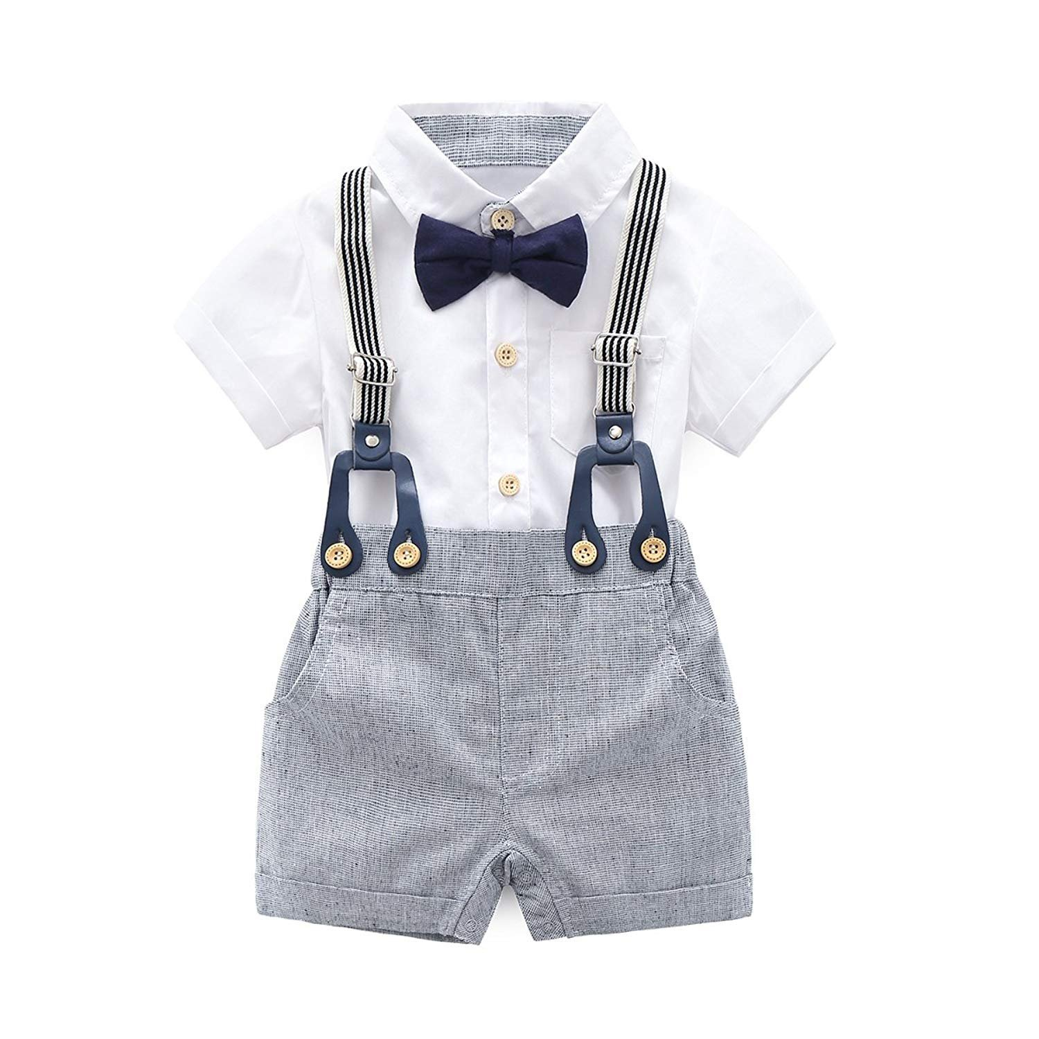 KiKibaby Baby Boys Gentleman White Outfits Suits, Infant Short Sleeve Shirt+Bib Pants+Bow Tie Overalls Clothes Set KTZ-81
