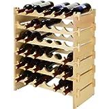 SortWise 36 Bottle Stackable Modular Wine Rack, Free Standing Solid Natural Wood Wine Holder Display Shelves, 6 Tier…