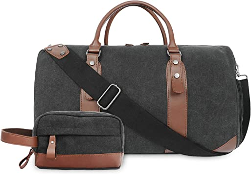 Oflamn Rugged Duffle Weekender Bag for Men Pu Leather Canvas Travel Overnight on
