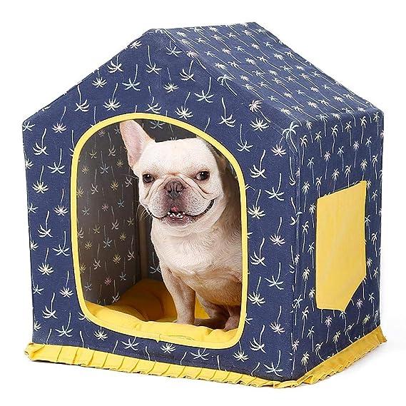 Funihut Perro Gato nicho Techo Cama Interior Exterior Animal de compañía Cama casa para Perro caseta extraíble en Lienzo Lavable Pet House Nido de Gato de ...