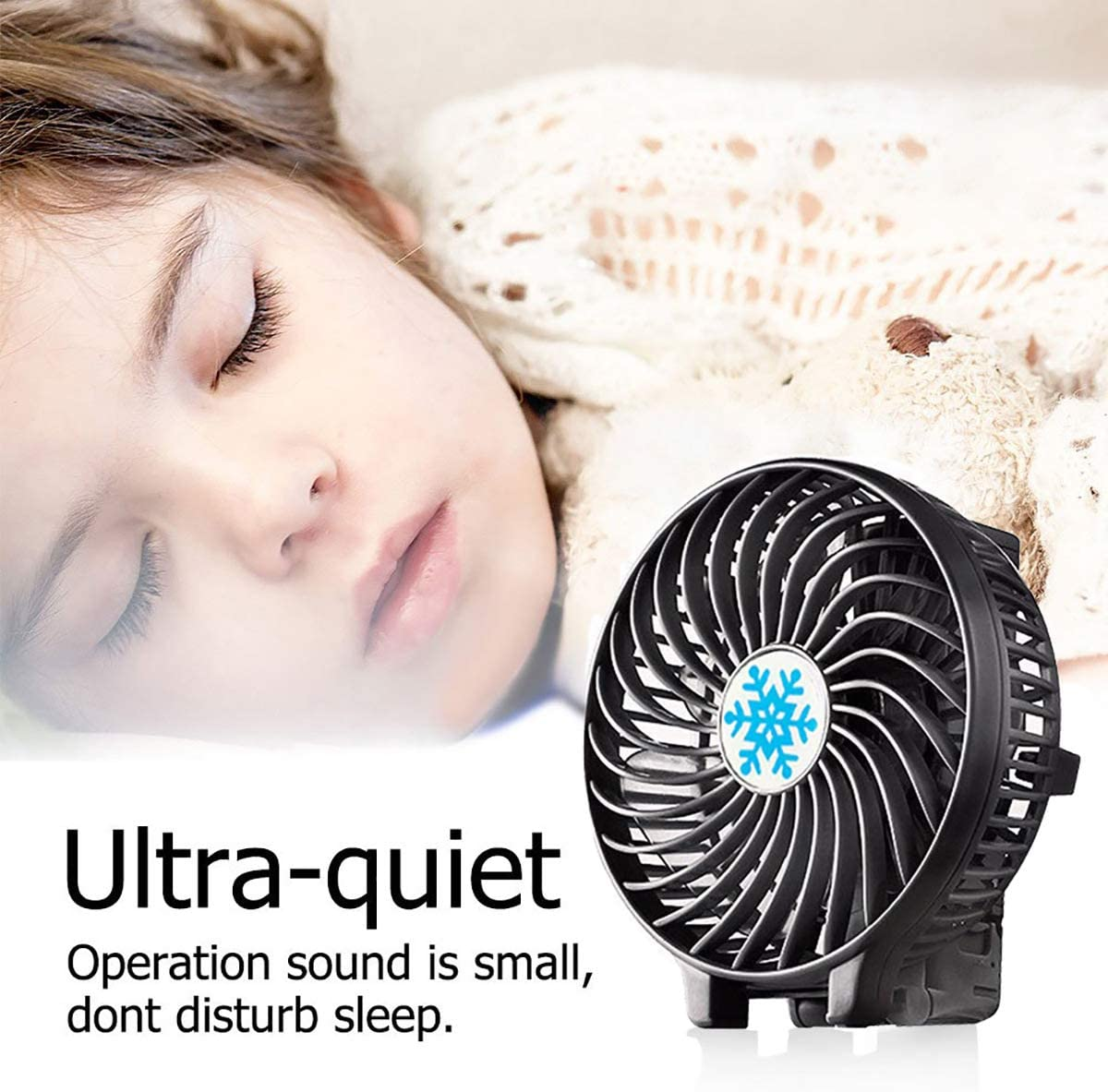 Handheld Fan Electric USB Personal Mini Portable Outdoor Fan with Rechargeable,Foldable Handle Travel Fan 3 Speeds Desk Fan for Home,Office and Travel-Black