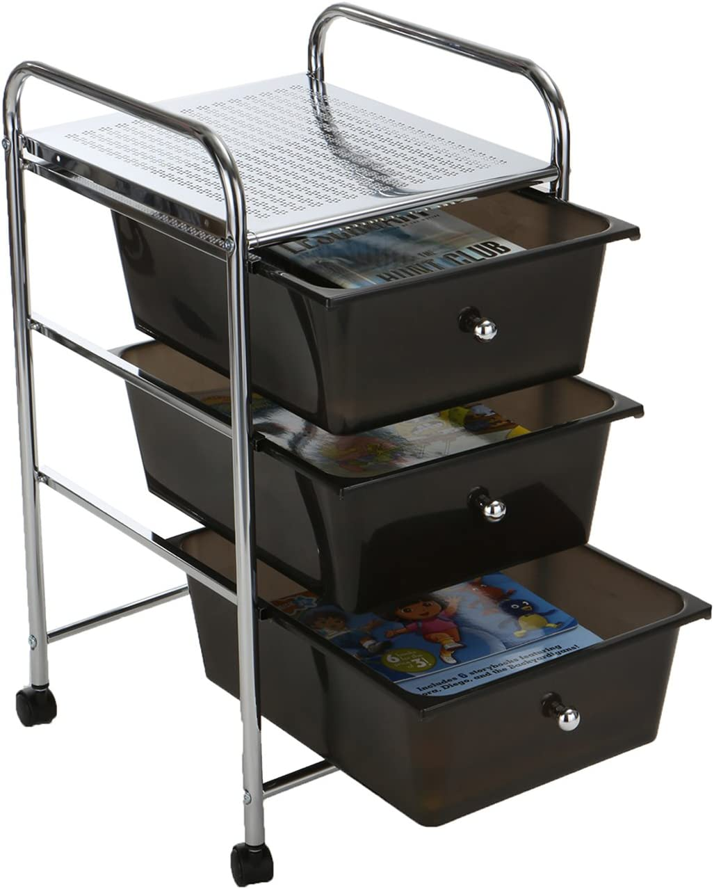 Mind Reader 3 Drawer Rolling Storage Cart and Organizer, Silver with Black Drawers: Kitchen & Dining