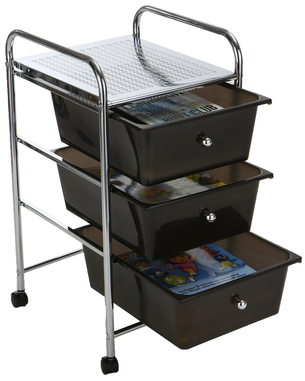 Mind Reader 3 Drawer Rolling Storage Cart and Organizer, Silver with Black Drawers by Mind Reader