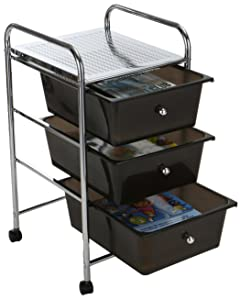 Mind Reader 3 Drawer Rolling Storage Cart and Organizer, Silver with Black Drawers