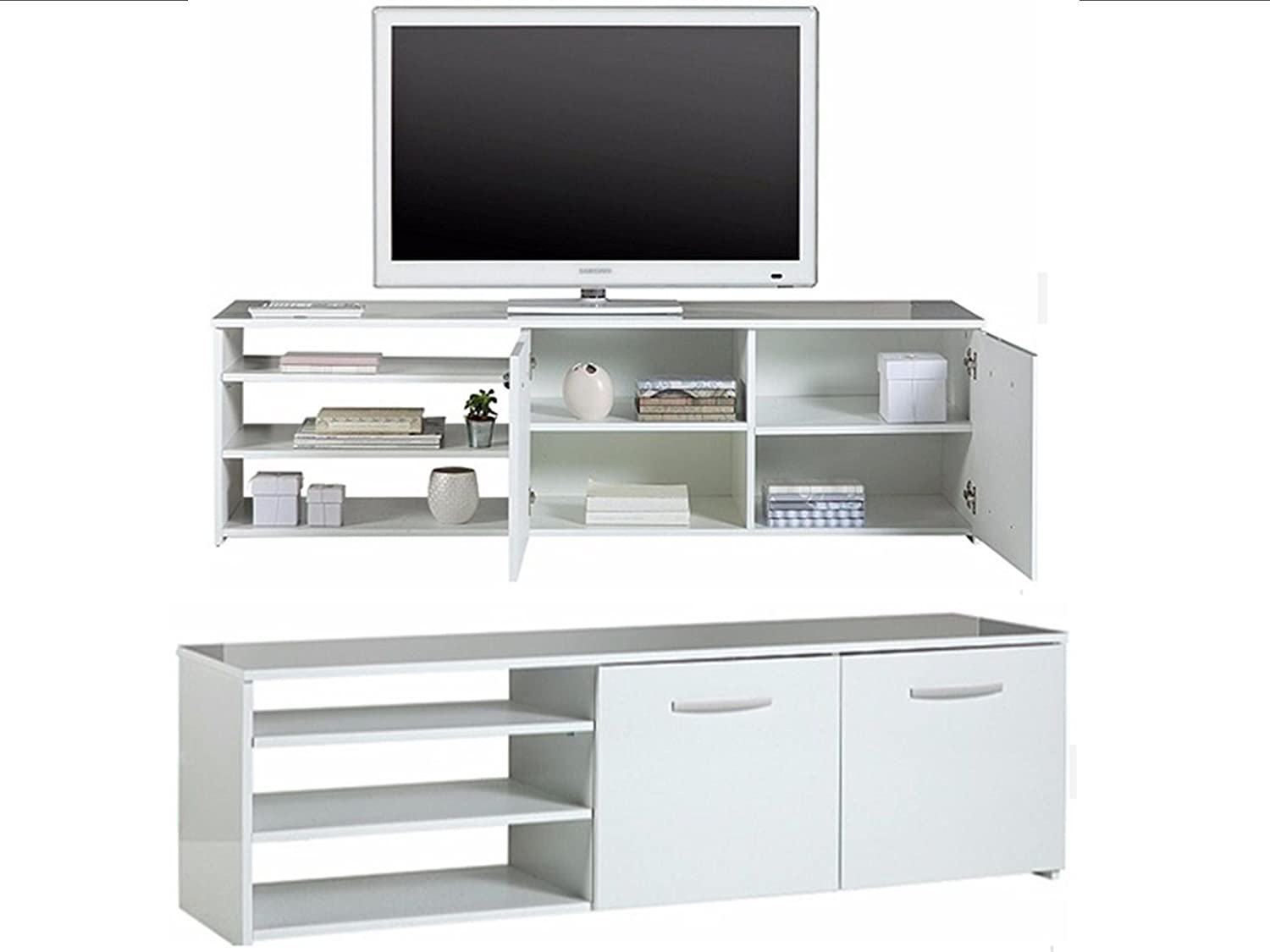 super popular a3ae1 f79df Argos Hayward Wide 2 Door TV Unit with Shelves and Cupboards - White Gloss