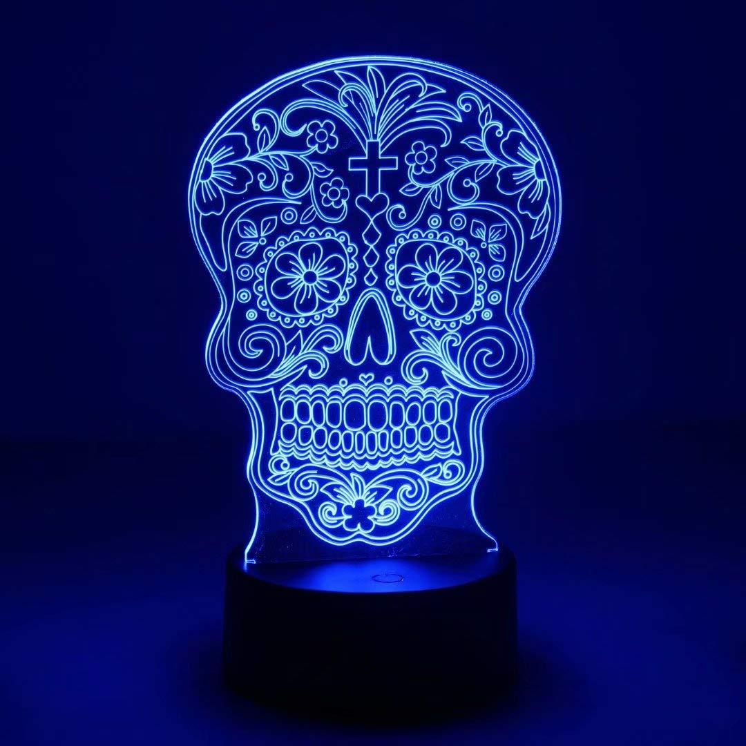 NUÜR Schädel 3D LED Illusions Lampe Nachtlicht Stimmungslicht für ...