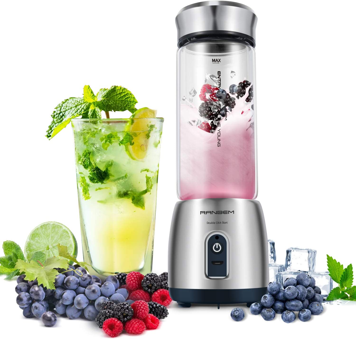 Portable Blender for Shakes and Smoothies, Cordless Mini Bullet Juicer Blender for Travel, USB Rechargeable for Milk Shake, Ice, Vegetables,5200MAH with 15oz Glass Cup