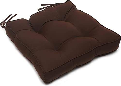 22.5 x 22 x 4 Tufted Sunbrella Chair Back Cushion Sunbrella Bay Brown
