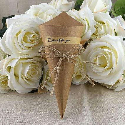 50 unids Retro conos de papel kraft diy ramo de flores cono ...