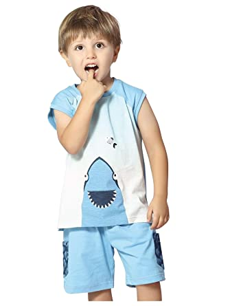 c32a575d120 Night Suit for Toddlers - White and Blue Color - Cotton Sinker Material - Printed  Night Suit - Sleeveless Tshirt ...