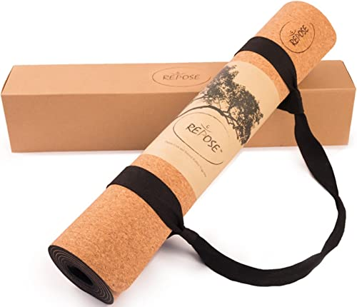 Repose Eco-Friendly Yoga mat, Responsibly Sourced Cork Natural Rubber Mat for Earth and Health 72 Long 24 Wide 4mm Thick, Non-Toxic, for Hot Yoga, Pilates and Exercise Yoga mat Strap Included