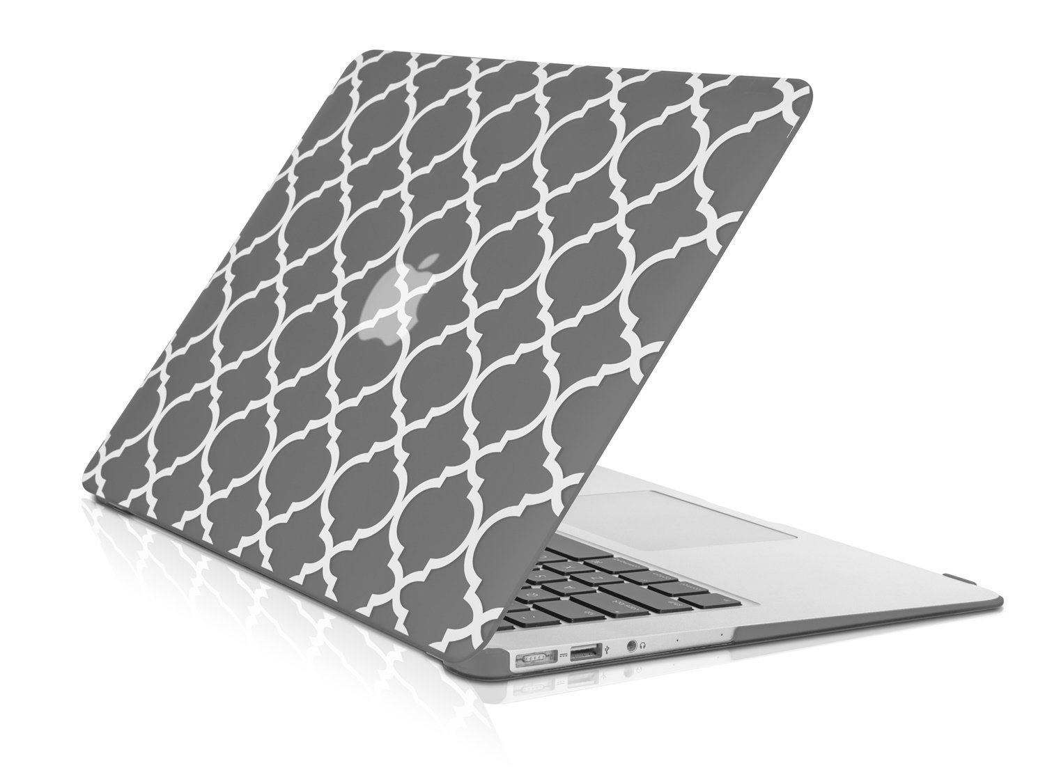 TopCase Quatrefoil/Moroccan Trellis Gray Ultra Slim Light Weight Rubberized Hard Case Cover for MacBook Air 11'' Model: A1370 and A1465