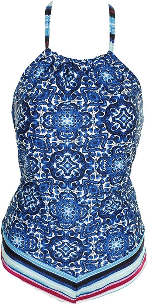 24th /& Ocean Womens High Neck Halter Handkerchief Tankini Swimsuit Top Tankini Top