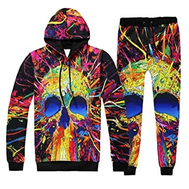 6bef2fc12 NiSeng Mens Tracksuit Set Fleece Hoodie Top Cool 3d Digital Print ...