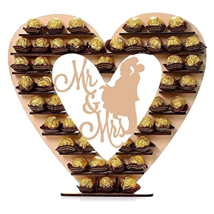 Outstanding Amazon Com Wooden Mr Mrs Chocolate Heart Display Stand Download Free Architecture Designs Embacsunscenecom