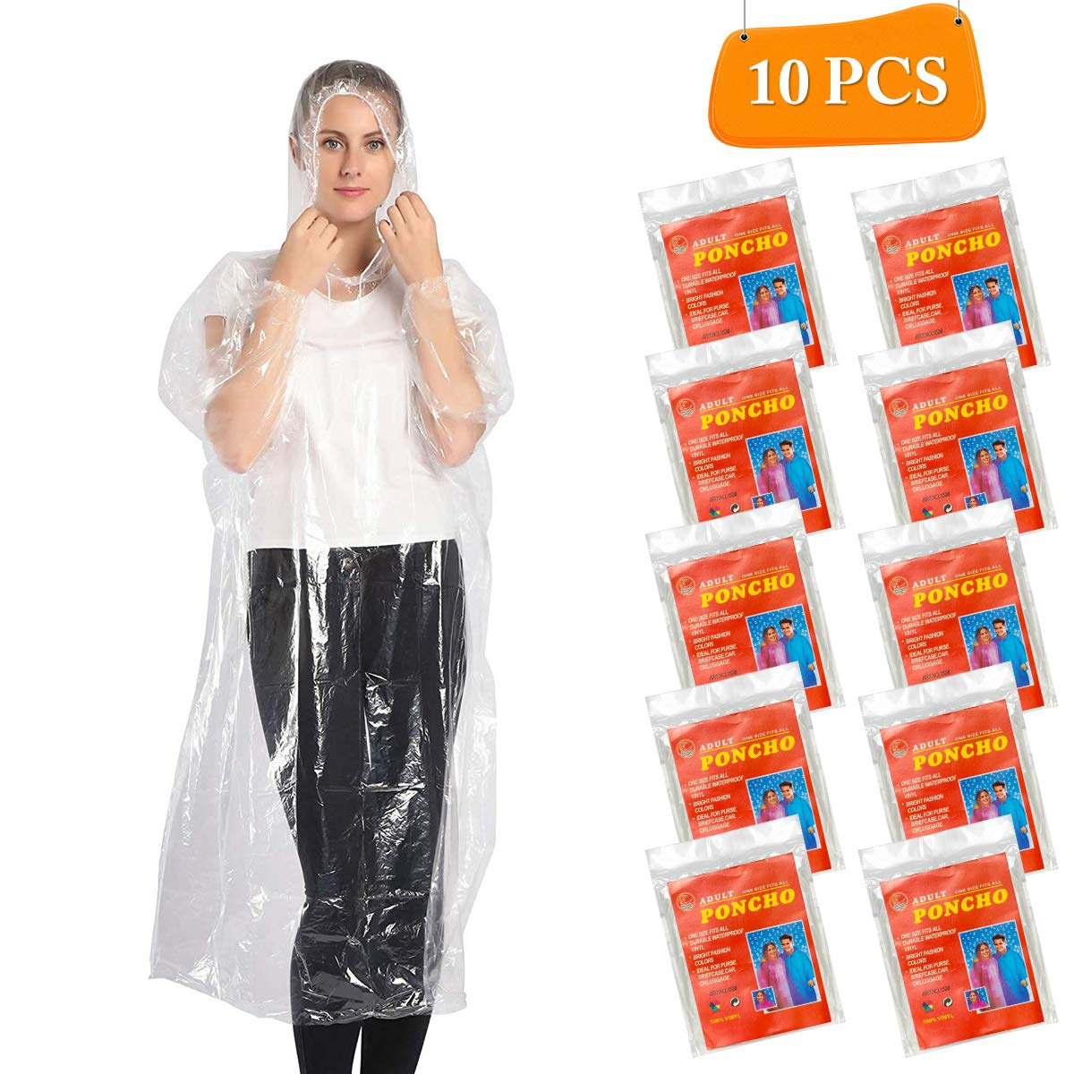 Elebor Emergency Waterproof Disposable Rain Ponchos - 10 Pack Portable Family Journey Rain Ponchos for Adults Men and Women, Perfect for Disney, Can Cover The Backpack, Thicked (White Clear)