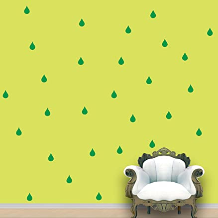 Buy Rain Drops Pattern - Green Colour - Set of 84 Wall Stickers ...
