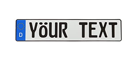 European License Plates Custom with Country Sidebar - 9 Characters  (Customize Your Text - Multiple Colors and Country Options, Plus  Accessories)