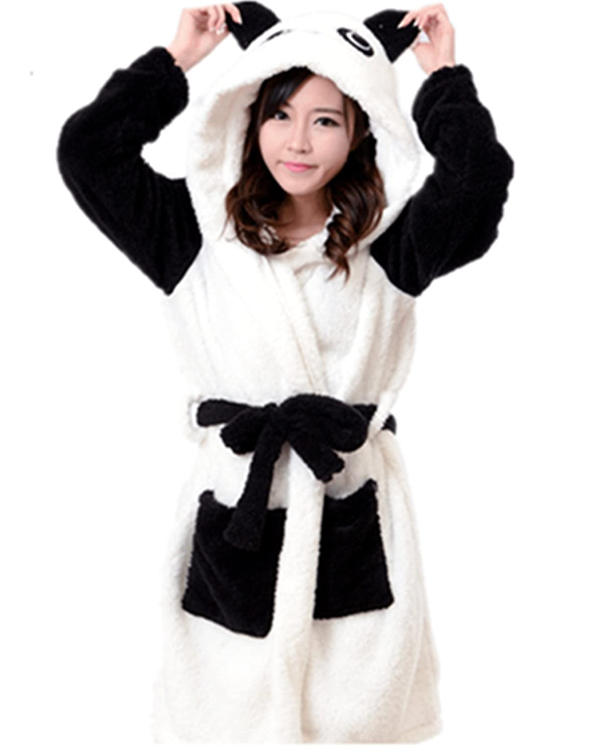 Ecollection® Ladies Super Soft Hooded Fleece Dressing Gown/Bathrobe ...