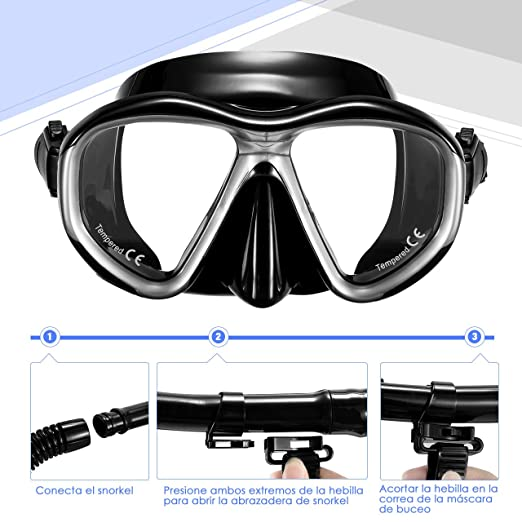 Amazon.com : OMORC Diving Snorkel Set, Anti-Fog Panoramic Scuba Mask and Dry Top Snorkel for Men Women : Sports & Outdoors