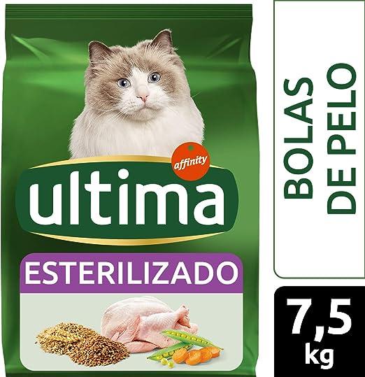 Ultima Pienso para gatos esterilizados para prevenir bolas de pelo, sabor pavo - 7.5 kg: Amazon.es: Productos para mascotas