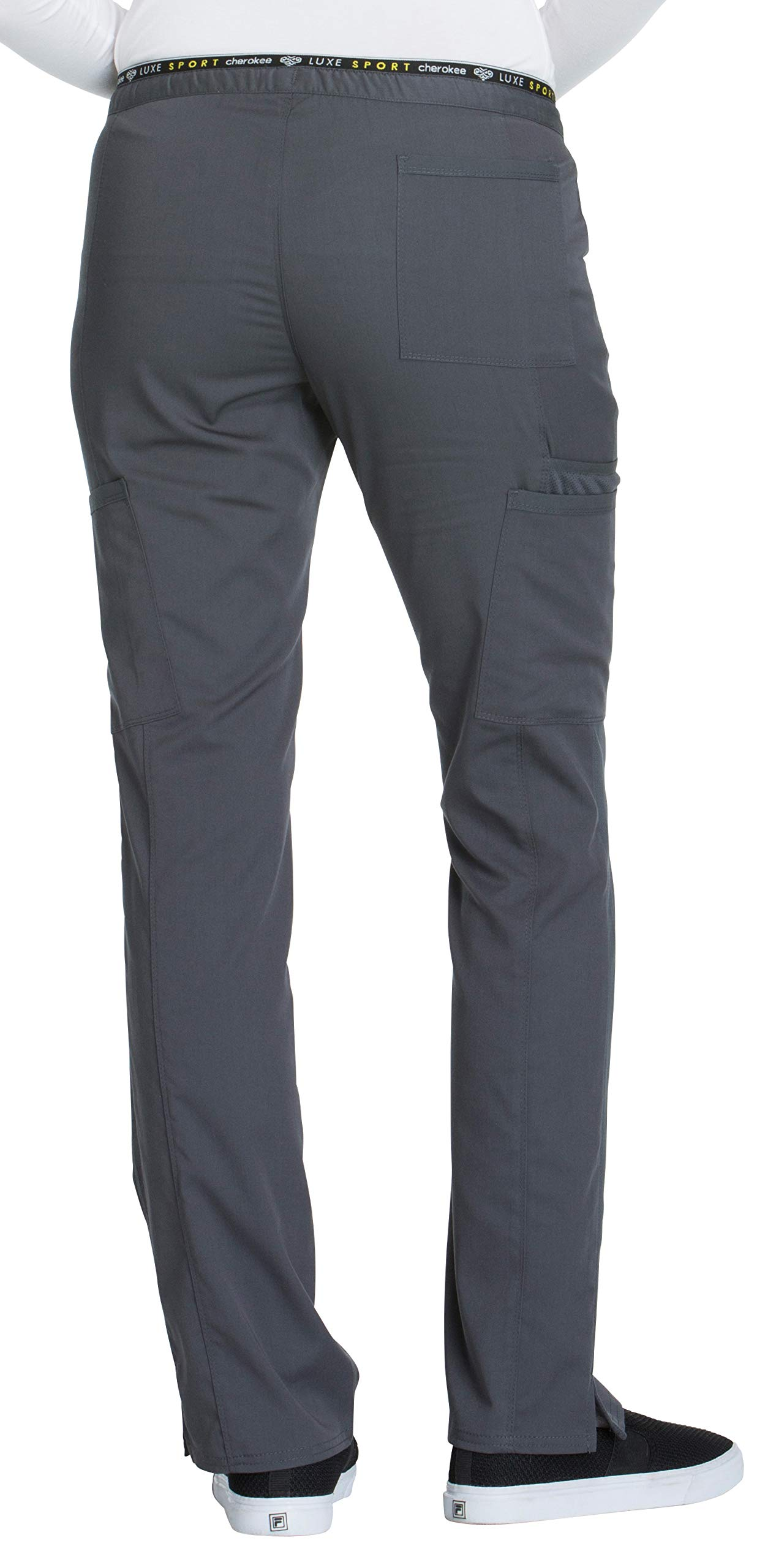 Cherokee Women's Luxe Sport Mid Rise Straight Leg Pull-on Pant, Pewter, Medium by Cherokee (Image #2)
