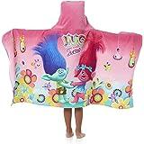 "Dreamworks Trolls Girl's Hooded Towel Wrap 24"" x 50"" Cute Kid's Towel with Hood"