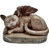 Bellaa 29684 Sleeping Cat with Angel Wings Garden Statue Memorial Pet