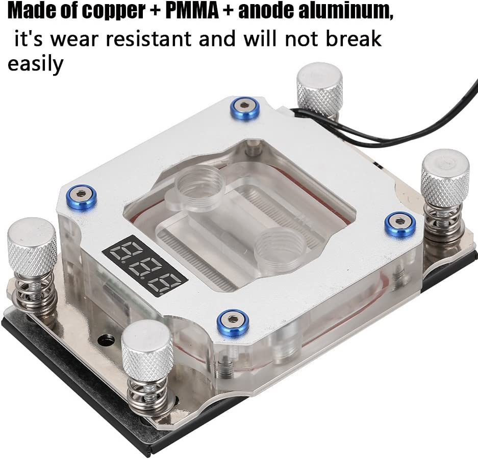 Richer-R AMD Water Cooling Block,Computer CPU Water Cooling Block Wear Resistant Waterblock with Temperature Display for AMD CPU