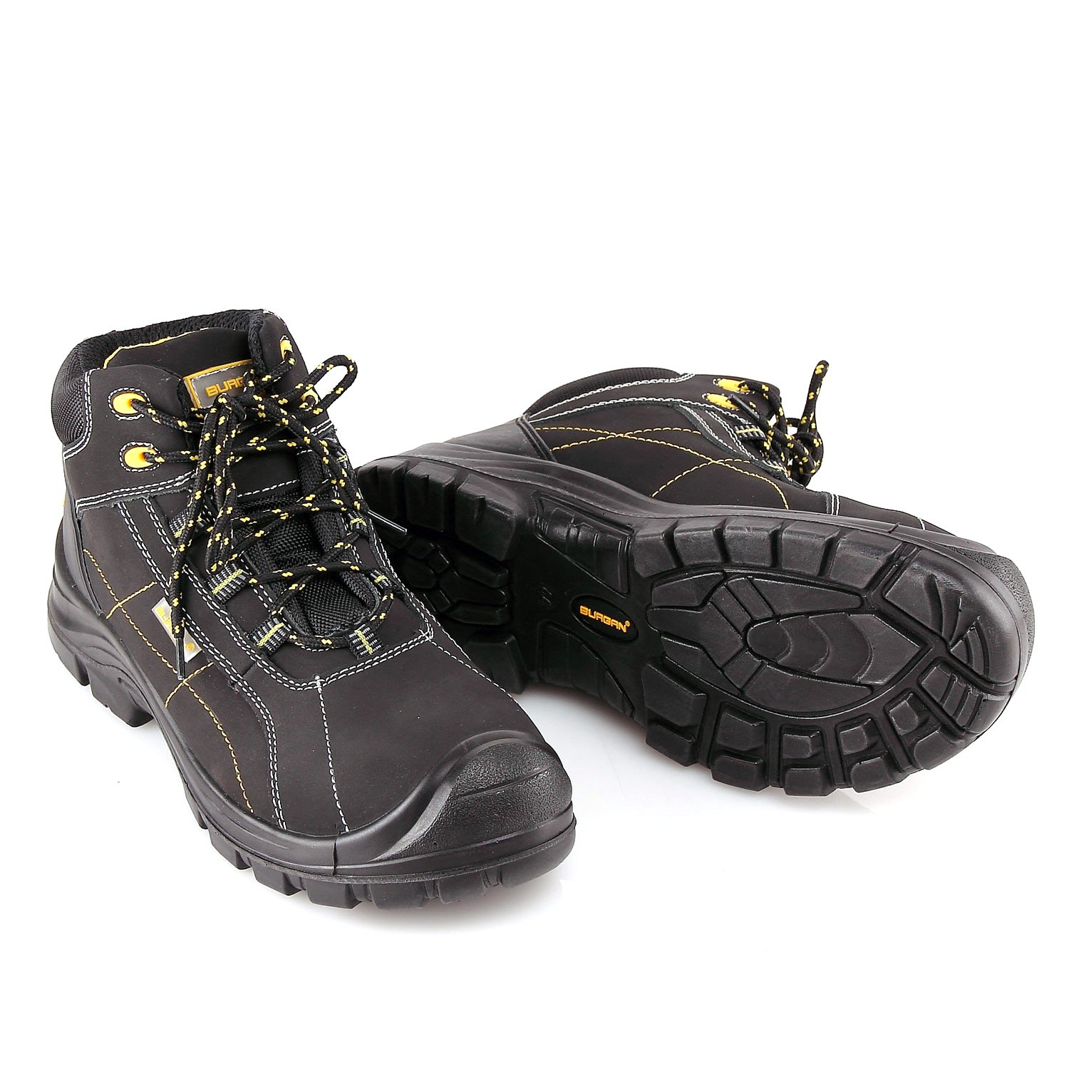 BURGAN 290 Safety Work Boot with Composite Anti-Penetration Midsole and Toe - Sport Casual Inspired Design for Men and Women (43 (US Mens 9/Ladies 10), Yellow Accent)