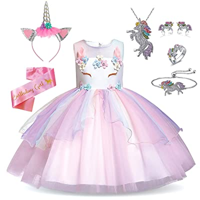 Rainbow Unicorn Outfit for Girls - Unicorn Costume, Jewelry, Headband, and Satin Sash: Clothing [5Bkhe0701902]