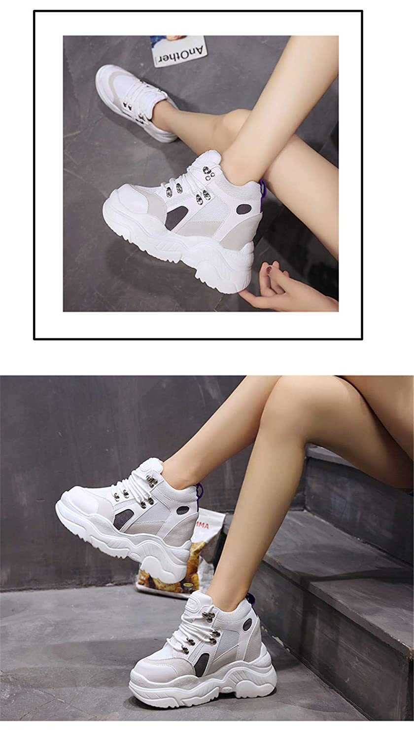 Platform Casual Shoes Women Fashion Mesh Breathable Thick Sole Height Increasing Sneakers