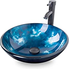 ELECWISH Bathroom Vessel Sink With Faucet Mounting Ring And Pop Up Drain  16.5 Inch Round Bowl