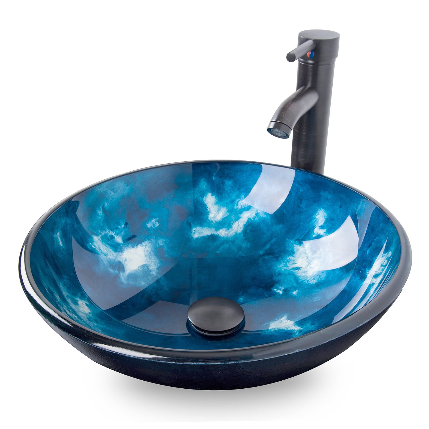 ELECWISH Bathroom Round Vessel Sink Ocean Blue Tempered Glass Above Top Hand Painting Artistic Sink with Oil Rubbed Bronze Faucet & Pop Up Drain