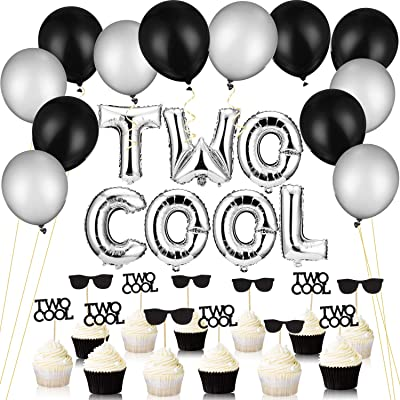 32 Pieces Two Cool Balloons with Two Cool Glitter Second Birthday Cupcake Toppers, 12 Inch Thicken Round Pearlescent Silver and Black Latex Balloons, 2nd Birthday Boy Party Supplies Decoration: Toys & Games