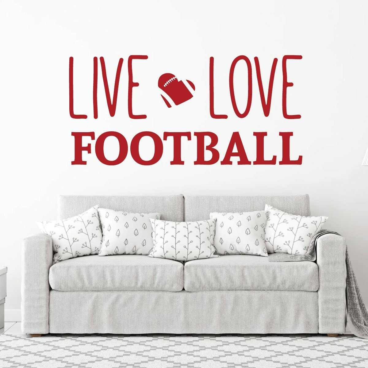 Live Love Football Wall Decal - Vinyl Art Sticker for Bedroom, Home Decor, Playroom or Game Room Decoration by CustomVinylDecor (Image #3)
