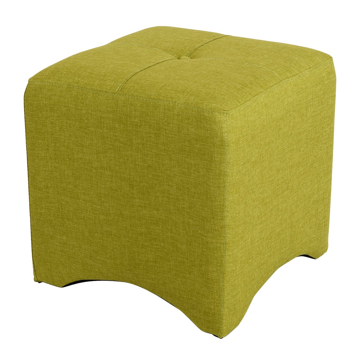 Cube Ottoman Foot Stool Square Foot Rest Seating Wood Frame Furniture Green