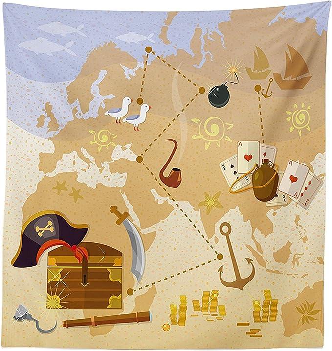 vipsung Isla Mapa Decor Mantel Mapa del Tesoro Pirata mar Capitán Gorro con Monedas y Barco de Vela Marina mística Tema Funda para Mesa Rectangular para Comedor kitchenes Azul marrón: Amazon.es: Hogar