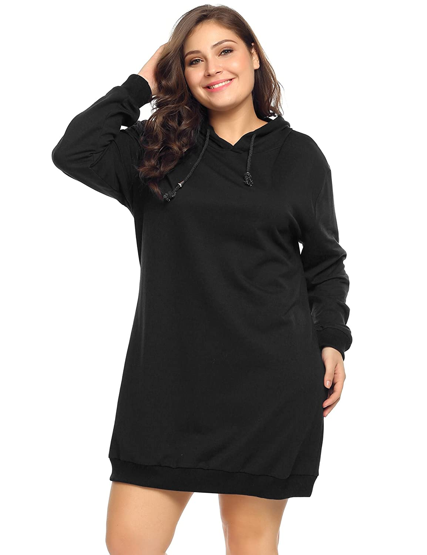 AMH016959 16W-24W INVOLAND Womens Plus Size Long Sleeve Hooded Pullover Sweatshirt Hoodie Dress