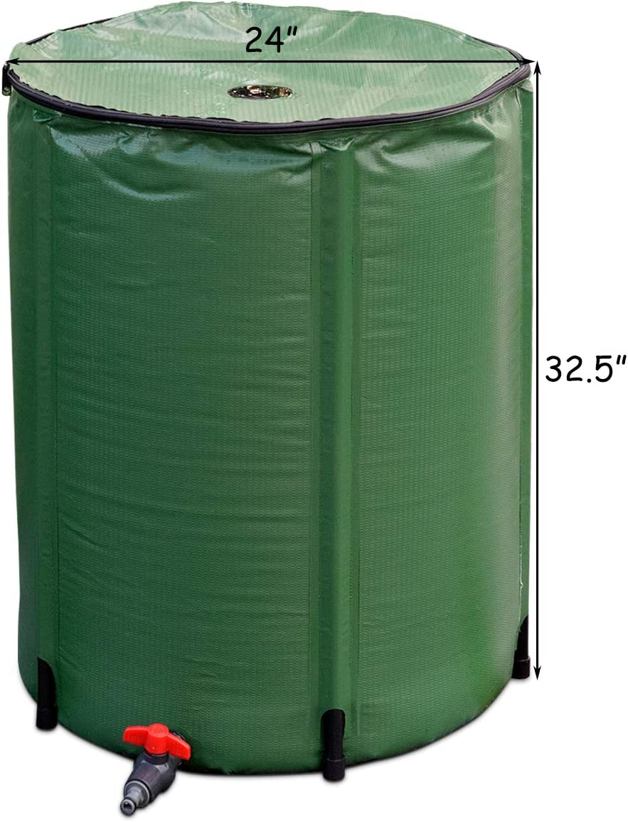 HAPPYGRILL 60-Gallon Collapsible Rain Barrel Water Collector Tank with Spigot Water Storage Container