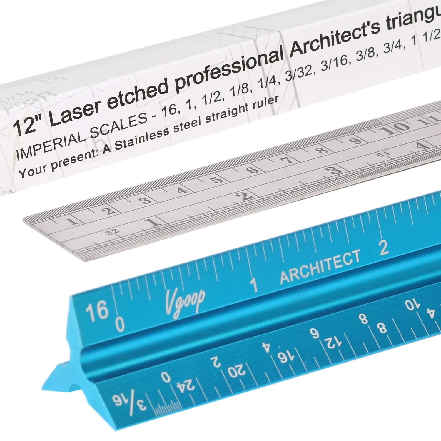 Architectural Scale Ruler, Engineer Drafting, Triangular - American Standard. 3 Sides, 11 Scales. Made of Laser Engraved Anodized Turquoise Aluminum. 12'' Long. 100% Accuracy. Bonus Steel Ruler by VGOOP