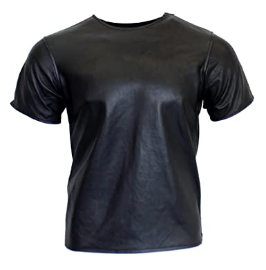RICANO Mens T-Shirt, Herren Leder T-Shirt (Slim Fit) aus Lamm Nappa Echt  Leder in Schwarz  Amazon.de  Bekleidung 4cf9caeaef